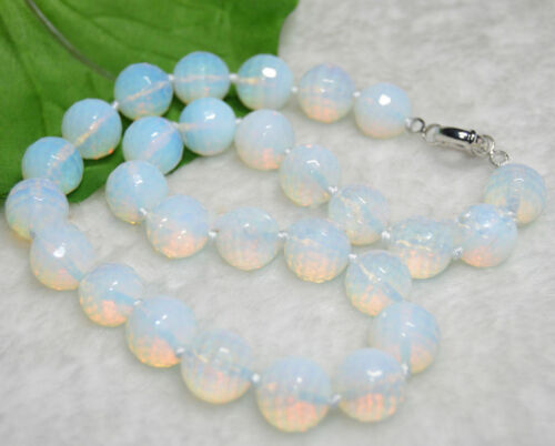 "Faceted Moonstone Gemstone Round Beads Necklace 20/"" 10 Mm Naturel AAA"