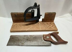 Vintage-Stanley-Miter-Box-Wood-Woodworking-Hand-Saw-Adjustable-Carpentry-Tool