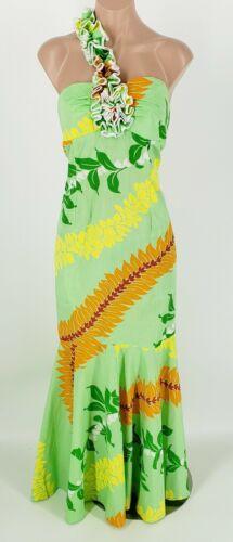 Royal Creations Green Tropical Long Maxi Ruffle Sh