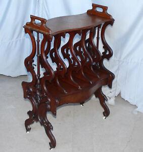Antique-Victorian-Canterbury-Bookcase-Holder-walnut-Rococo-Revival