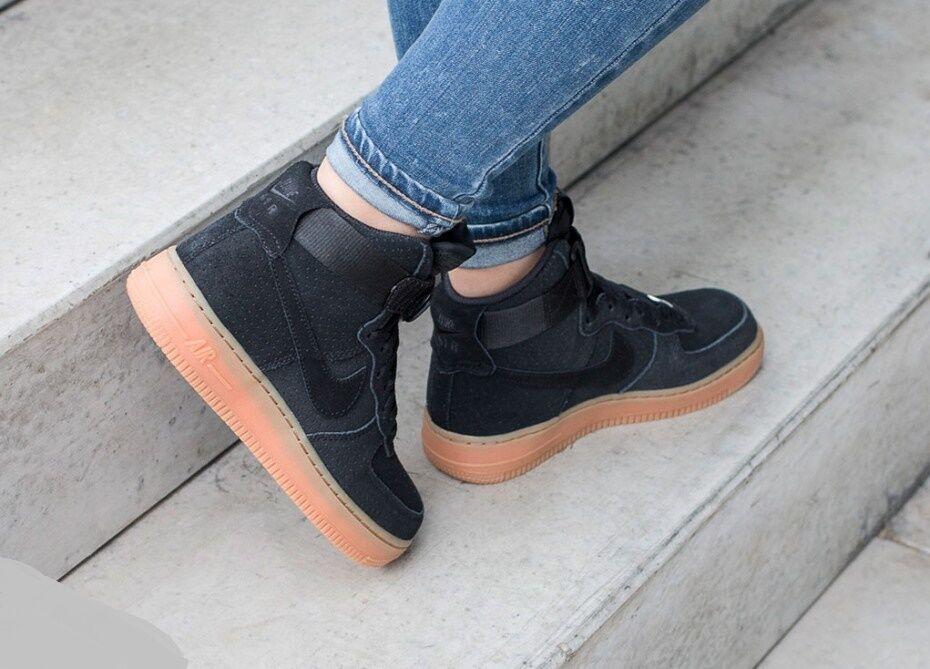 "Nike Air Force 1 High ""Black Suede Gum"" Wmn Wmn Wmn Sz 9.5 749266-001 d2bb73"
