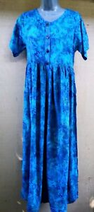 Blue Green Batik,Watercolor Fit /& Flare Bali Tank Top Sun Dress  S,M,L,XL,2X