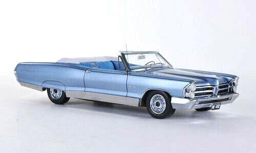 Wonderful NEO-modelcar PONTIAC BONNEVILLE CONgreenIBLE 1965 - blueemetallic - 1 43