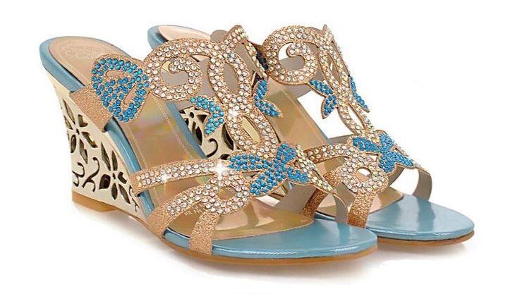 Elegante oro sandalo sandali stiletto gioiello zeppa 8 cm oro Elegante azzurro eleganti 9299 ad2077