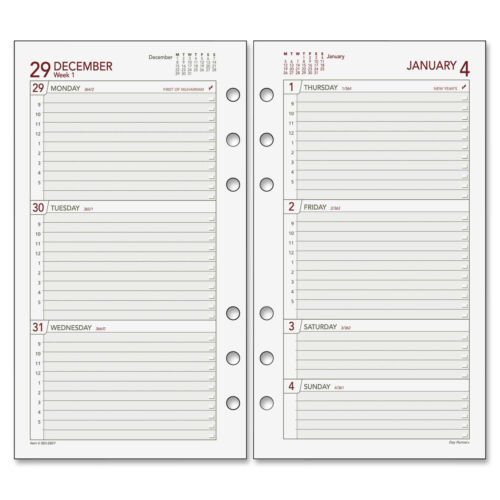 """At-A-Glance Weekly Refill Pages 2PPW Jan-Dec 3-3//4/""""x6-3//4/"""" White 063285Y"""