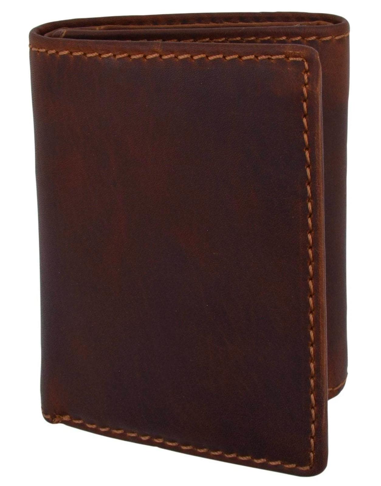 Brown RFID Blocking Vintage Hunter Leather Men's Trifold Wallet Center Flap