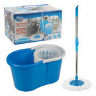 Microfiber 360° Spin Magic Mop With Bucket Cleaning Kit Plus 2 Mop Heads Whizzer