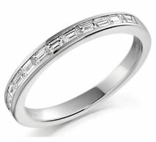 F/VS 0.25CT BAGUETTE CUT DIAMONDS HALF ETERNITY WEDDING RING IN 950 PLATINUM
