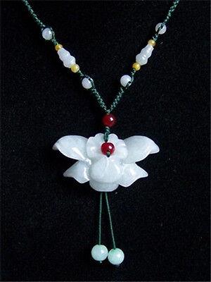 Big Adjustable Beaded Chain Delicate Carved Jadeite Jade Orchid Flower Necklace