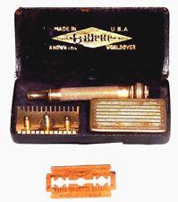 Vintage Gillette Safety Razor Gold (G) Set   USA 1928