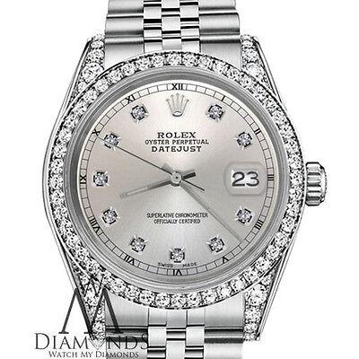 Women\u0027s Rolex Watch 31mm Datejust Stainless Steel Silver Color Diamond Face
