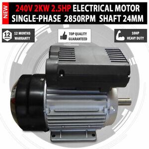 Electrical Motor Single Phase 240v 2kw 2 5hp 2850rpm Shaft 24mm Air Compressor Ebay