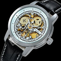 Classic Steampunk Men's Skeleton Dial Automatic Mechanical Quartz Wrist Watch