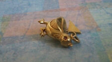 14K SOLID YELLOW GOLD QUAIL Charm PENDANT GARNET EYES VERY RARE 4.8 GRAMS 3/4""