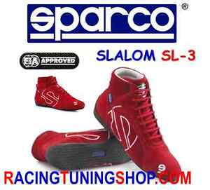 SCARPE-SPARCO-SLALOM-OMOLOGATE-RACING-RALLY-SHOES-SLALOM-RED-CHAUSSURES-SCHUHE