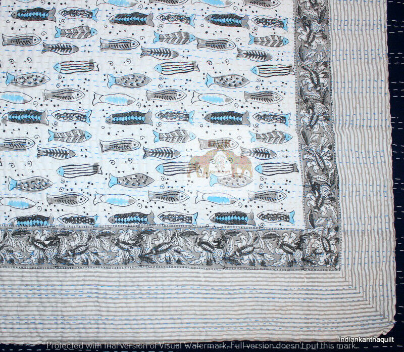Indian Kantha Bed Cover Cotton Handmade Bedspreads Fish print Multi Queen Size