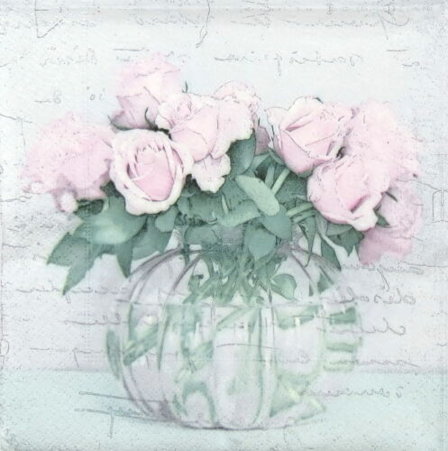 4x Paper Napkins for Decoupage Decopatch Craft Sagen Vase and Roses