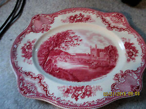 JOHNSON-BROTHERS-OLD-BRITAIN-CASTLES-PINK-OVAL-SERVING-PLATTER-ENGLAND