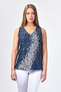 f60d1438889 Image is loading NWT-195-ITALIAN-DESIGNER-SEQUIN-WOMEN-TOP-Plus-