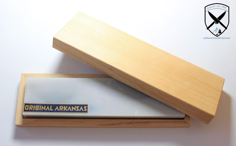 Arkansas Abziehstein Naturschleifstein Messerschärfer ca.200x50mm mit Holzkiste.