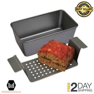 Meatloaf Pan 2 Piece Healthy Meatloaf Set Drain Fat Kitchen Baking Cookware NEW