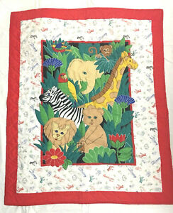 2c72d84fcc564 Baby Boy Blanket Quilt Animals Primary Colors Zoo Jungle Tropical ...
