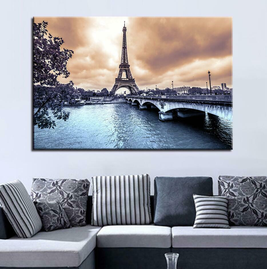 Eiffel Tower Seine River Jena Bridge 1 Panel Canvas Print Wall Art