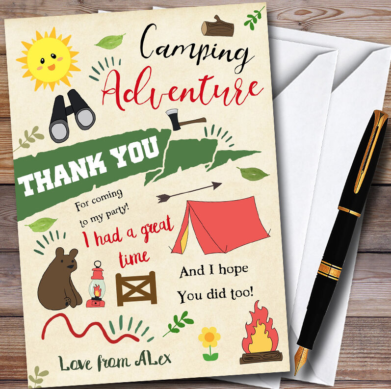 Camping Aventure Personnalisé Personnalisé Personnalisé Fête THANK YOU Cartes 501228