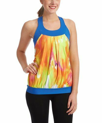 MOXIE Cycling bluee orange Rio Watercolor Layered Jersey Athletic Tank Top