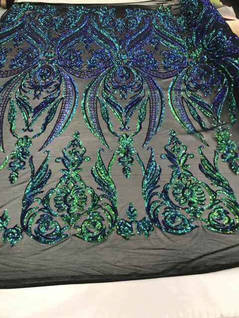 New Sequins Fabric 2 Way Stretch Shiny Jade Embroidered Mesh Top By The Yard