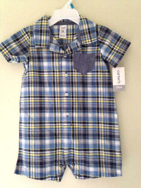NWT Carter/'s Sweet Baby Boy Blue Yellow Plaid One Piece Shirt Bodysuit 24 M $28