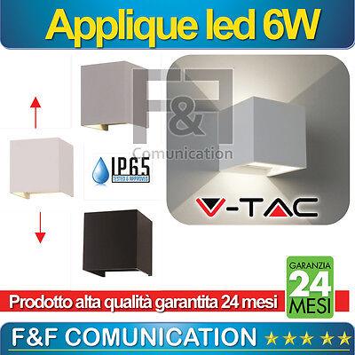 APPLIQUE PER ESTERNO LED DOPPIO LED LUCE  QUADRATO ESTERNO METALLO 6W V-TAC