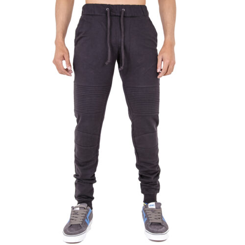 Mens Biker Joggers Sweatpants Skinny Slim Fit Stretch Cuffed Drawstring