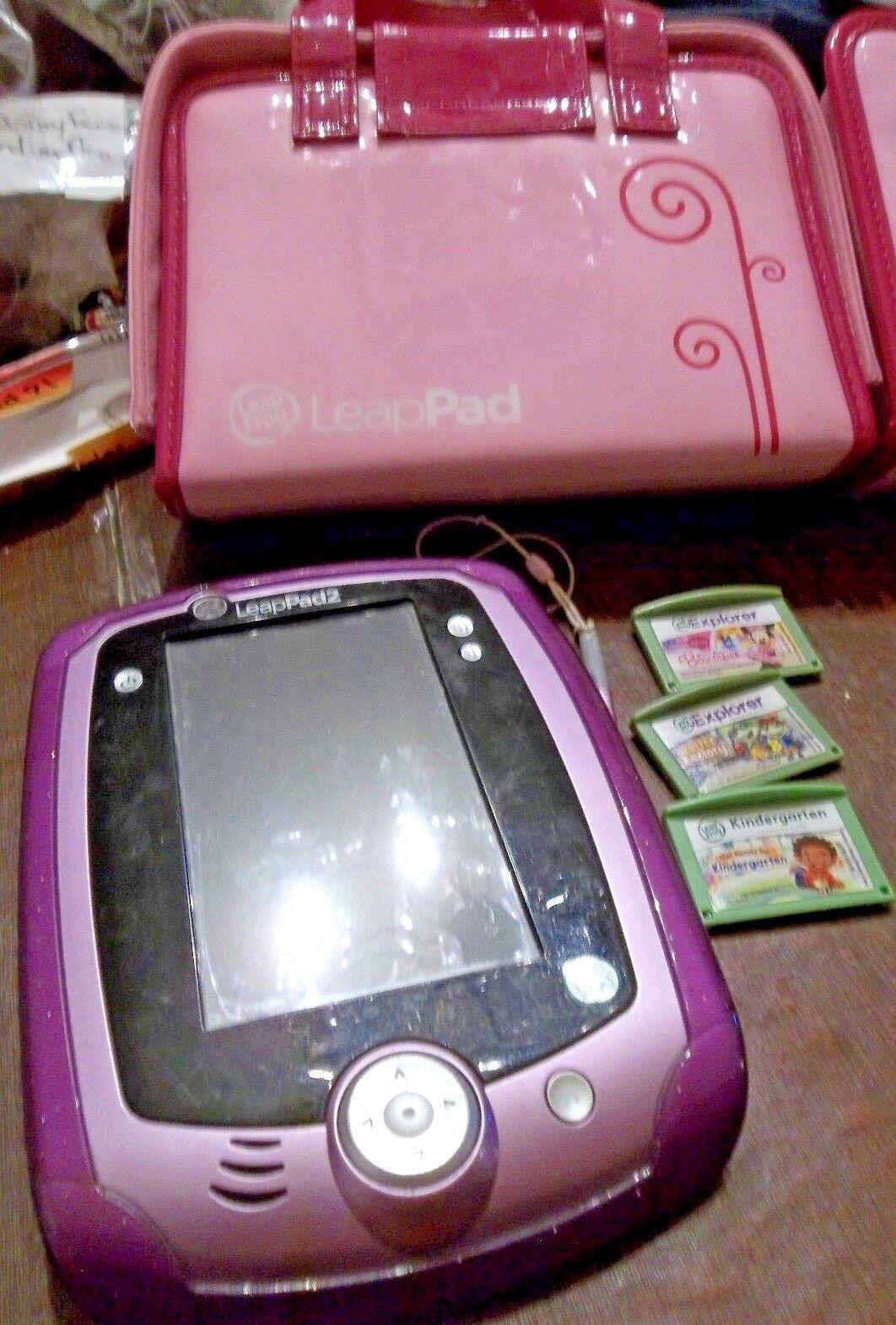 LeapFrog Leappad 2 Purple w  Pink Purse type Case & 3 Smartridges NICE