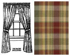 "Window Curtain - Panel Pair 63"" L - Saffron by Park Designs - Burgundy Green"