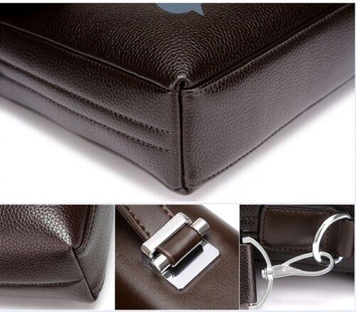 US Business Mens Black Leather Briefcase Bag Laptop Crossbody Shoulder Handbag