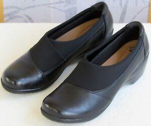 11-Clarks-Soft-Cushion-Women-Black-Leather-Wedge-Heel-Pump-Loafer-Shootie