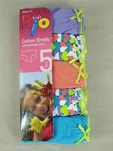RIO-Girls-5-Pack-Cotton-Briefs-Underwear-sizes-4-6-8-Multi-Colour-P8