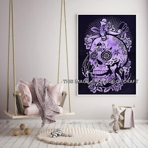 Indian Poster Home Decor Scary Skull Cotton Wall Hanging Boho Tapestry Yoga Mat