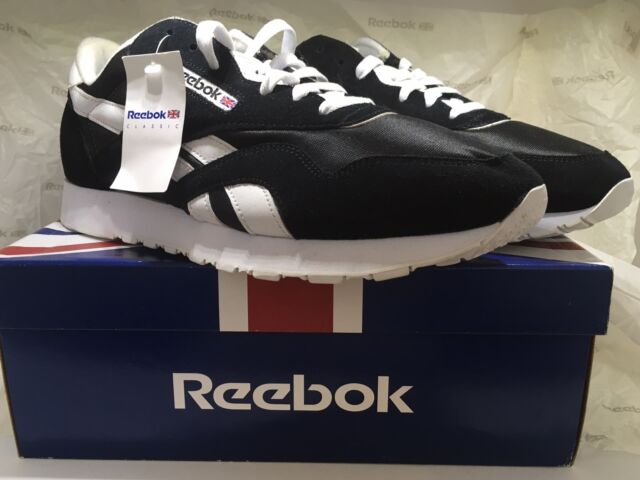 4fc515529d4 Reebok CL Nylon Classic Running Shoes Sneaker 11.5 Black White 6604 ...