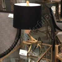 Deer Antler Table Lamp Antique Gold 22 Black Shade Base Accent Modern Lodge