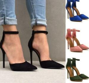 Womens-Pointed-Toe-Ankle-Strap-Retro-Pumps-Stilettos-High-Heel-Low-Top-Shoes-Ths