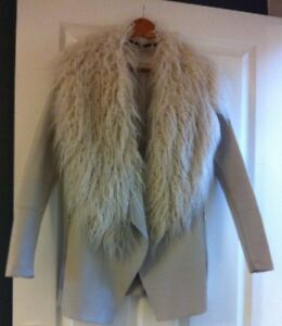 Women-039-s-River-Island-Faux-Leather-Faux-Fur-Waterfall-Jacket-Size-8-Good-conditio