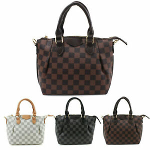 Ladies-Women-039-s-Checkered-Bag-Messenger-Shoulder-Handbag-New-UK
