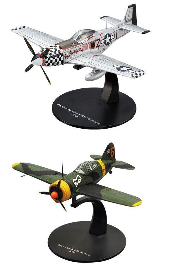 Lot de 2 Avions WW2  Brewster et Mustang 1 72 militaire diecast DeAgostini