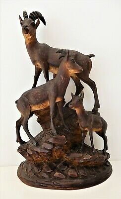 Antique 1890's Black Forest Carving, Ibex figure Group ,excellent condition    eBay
