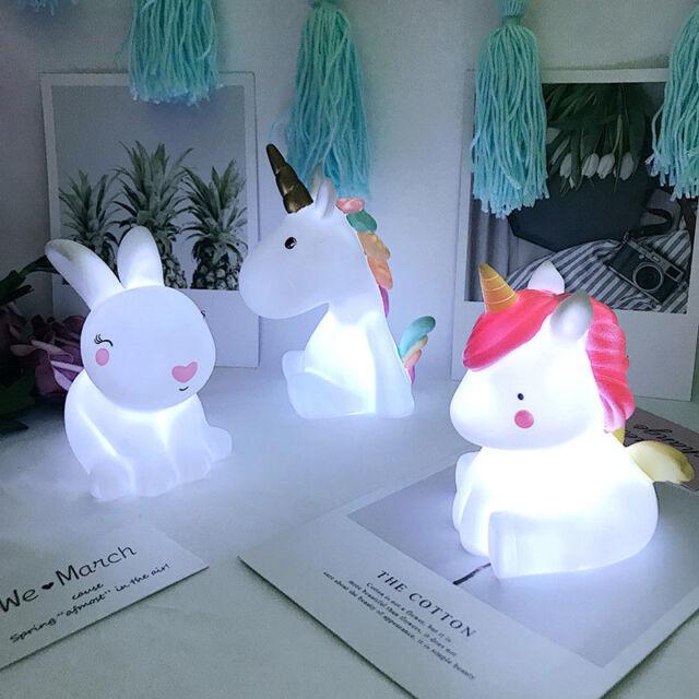 Cute Unicorn Head Led Night Light Lamp