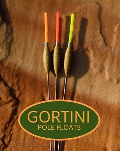 3 no. Hand made GORTINI 4x12 'Carbon Slim' pole fishing floats handmade set