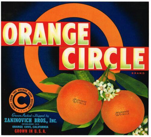 ORIGINAL ORANGE CIRCLE CRATE LABEL ORANGE COVE TULARE COUNTY 1940S GRAPHIC ARTS