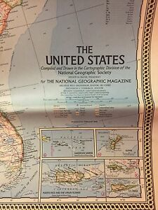 1968 NATIONAL GEOGRAPHIC MAP OF THE UNITED STATES | eBay